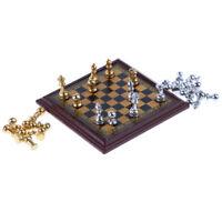 1:12 Dollhouse Miniature Metal Chess Set Dolls House Decor Accessories