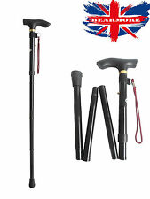 Black Cane Walking Adjustable Stick Foldable Fold Up Travel Tip Slip Aluminum uk