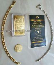 BRACCIALE PLACCATO ORO 18K E IN ARGENTO 925 CON MONETA E LINGOTTO PURO 24KT GOLD