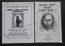 TWIN PEAK FLIERS - MISS TWIN PEAKS AND BOB WANTED POSTER from originals