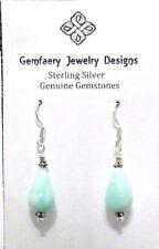 Sterling Silver PERUVIAN OPAL Teardrop Gemstone Earrings #2498...Handmade USA
