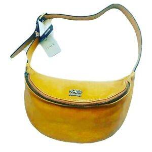 Pratesi Firenze Women's Mustard Brown Leather Fanny Pack Belt Bag Chest Bag