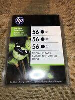 😎Hp 56 Black Ink 3 Pack Unopened sealed Genuine OEM Exp 2012😎