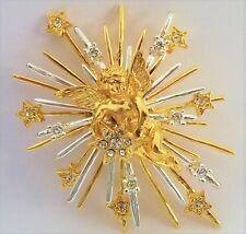 Star Cherub Faith Sunburst Hope Dreams Love Seta New Angel Pin Gold Tone Prayer