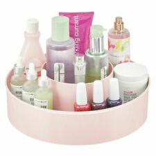 mDesign Plastic Lazy Susan Storage Tray - Rotating Organizer - Light Pink