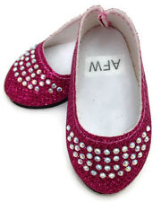 Pink Glitter Flats w/Rhinestones Shoes fits 18 inch American Girl Doll Clothes