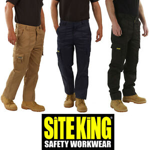 Mens Original Cargo Combat Work Trousers By SITE KING Size 28 to 52 - GENUINE 02