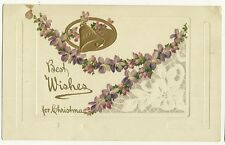 Embossed Bellos Purple Flowers Holiday Christmas Greeting  Postcard
