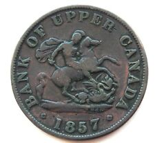 """""""Die Rotation"""" 1857 Bank of Upper Canada One Half Penny Bank Token Coin SB5970"""