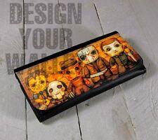 Womens Wallet bi-fold Leather Halloween movie monsters chainsaw, Freddy, jigsaw