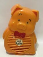 "Vintage Plastic Pig Pal Fan Farm Animal w/ Bow Tie 7 1/2"" Tall Battery Operated"