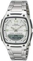 Casio Men's Quartz Telememo Ana-Digi Silver-Tone Bracelet 39mm Watch AW81D-7AV