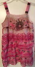 GIRLS TIERED TANK TOP SZ L-XL PINK & BROWN PRINT w CHIFFON TIERS
