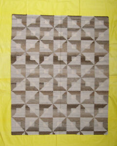 Afghan Reversible Dhurrie Soft Colors 5'x6' Size Brown Color Wool Rug Hand-Woven