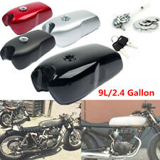 9L/2.4 Gallon Vintage Motorcycle Cafe Racer Seat Fuel Gas Tank +Cap Switch Steel
