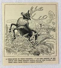 1886 magazine engraving ~ HUNTING A DEER IN WEST VIRGINIA