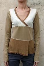 Marlboro Ladies Viscose & Silk Striped Embroidered top Beige Cream XL SUPER