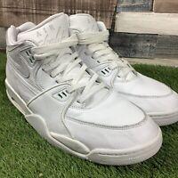 UK12 Nike Air Flight 89 LE QS Triple White Mid - Premium Leather - RARE - EU47.5