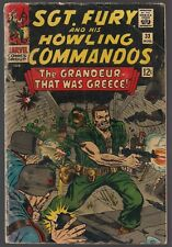 """SGT FURY AND HIS HOWLING COMMANDOS #33 MARVEL 1966 """"GRANDEUR THAT WAS GREECE"""" VG"""