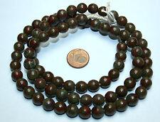 Strang 64 cm runde antik rot grüne Glasperlen aus Böhmen