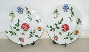 2 Limoges 23 cm Raynaud Ceralene Flowers & Butterflies plates. Excellent Cond.