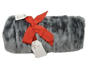 "Cannon Velvet Plush Throw Blanket 50"" X 70"" Solid Gray Textured 100% Polyester"