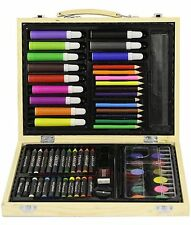 Childrens 67 Piece Craft Art Artists Set Wooden Box Crayons Paints Pens Pencils