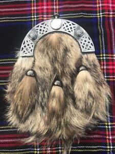 ST Scottish Kilt Sporran Fox Fur Celtic Cantle Antique Finish/Leather Sporrans