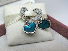 New Pandora Mother & Son Piece of My Heart 2 Pc. Charm 791152EN08 W/HINGE Box
