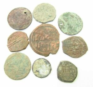 LOT of 9 ARABIC  BRONZE COINS TO IDENTIFY (990)