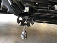 Gloss Black Skull Bell Hanger / Mount for Motorcycle Harley Bolt & Ring Included