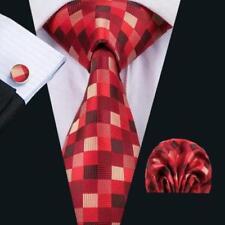 LUXURY GIFT SET > Mens Red Beige Check Silk Tie Handkerchief Hanky Cufflinks