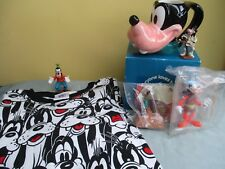 Disney Set 6 GOOFY Items  Ceramic Mug  Shirt  Fast Food Toys  Plastic Figures
