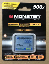 GENUINE MONSTER DIGITAL FLASH MEMORY 32GB CARD 500X  PROFESSIONAL QUALITY SEALED
