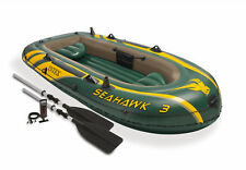 Intex Seahawk 3 Inflatable Raft River Lake Dinghy Boat Pump & Oars Set 68380EP