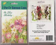 2 Creative Horizons Old Fashioned Pop Up Birthday Cards NIP Iris & Vines