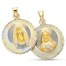 Jesus & Virigin Mary Pendant Solid 14k Yellow White Rose Gold Double Sided Charm
