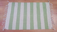 Green & Cream Haseena Stripes Recycled Yarn Rug 60cm x 90cm Bathroom Hearth NEW