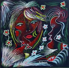 """MARIA MURGIA """"Figura"""" mista su cartoncino nero cm 32x30,8    ASTA OCCASIONE"""