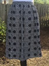 NWT 6 A-line Midi Knee Length J Crew Double Dot Skirt navy large $118 polka dot