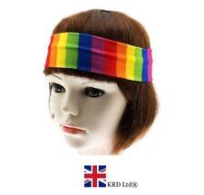Unisex Gay Pride Bright Rainbow Stripe Headband Ladies Kids Fancy Dress UK