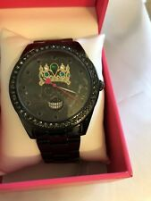 Betsey Johnson Women's Skull w/Crown Watch & Crystals BJ00249-61