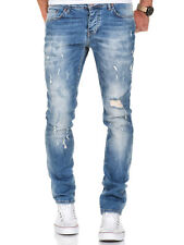 Herren Strech Destroyed Slim Fit Denim Jeans Chino Hose Schwarz/Grau/Blau 7500