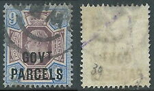 1902 GREAT BRITAIN USED OFFICIAL STAMPS O77 9d DULL PURPLE AND ULTRAMARINE