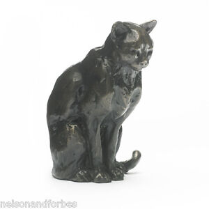 Solid Bronze Cat Sculpture Sitting Cat by Sue Maclaurin
