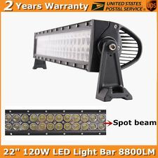 22inch 120W LED Light Bar Spot Beam Work Offroad Lamp 8800LM 12V For SUV ATV
