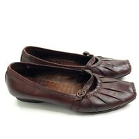 Pikolinos Brown Leather Mary Jane Flats Size 38 Womens Slip On Square Toe 7.5-8