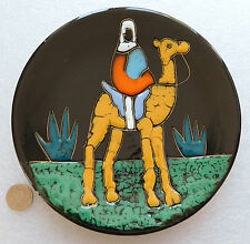 Ceramic pottery plate CAMEL decorative enamel plate 7 inch Desert animal Rider