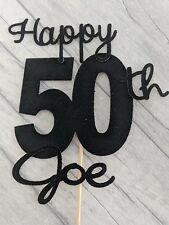 Personalised 50th glitter cake topper birthday 18 21 30 40 50 60 70 80 90 100 16