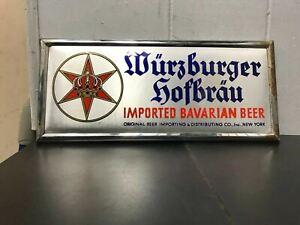 """VINTAGE WURZBURGER HOFBRAU BEER SIGN 14"""" X 6"""" BAVARIAN BREWERIANA IMPORTED 1930"""